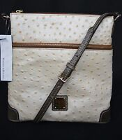NWT Dooney & Bourke Leather Letter Carrier Bag/Crossbody Bag in Pearl White/Grey