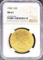 1904 • $20 American Gold Double Eagle Liberty Head • MS61 NGC • LUSTROUS Coin!