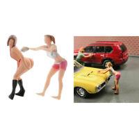 2 pcs 1: 64 Frau Puppen Figuren Minipuppe Modell aus Harz für Puppenhaus Deko