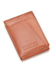 Kenneth Cole Reaction, RFID Wide Magnetic Leather Front Pocket Wallet, Tan