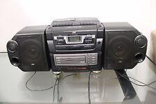 JVC PC-XC 12BK Boombox & Remote cd am/fm cassette clock TESTED