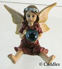 Gazing Ball Girl Garden Fairy Yellow Wings Brunette Figurine Ganz Mini Flower