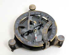 "Folding Sundial & Brass Compass 3.25"" Antiqued w/ Wooden Case Nautical Decor"