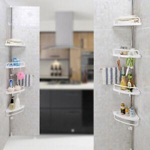 4 Tier Shower Corner Rack Shelf Telescopic Bathroom Kitchen Storage Organiser UK