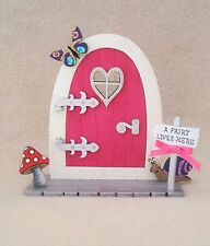 Opening Fairy Door Handpainted Pink Glitter Fairy Door, elf door, Shelf Sitter