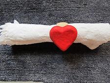 Serviettenringe 4-er, Herz, rot, Holz/Papiermache Tischdeko Serviettenring  NEU