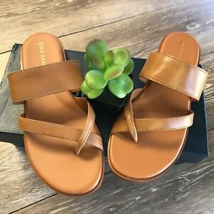 COLE HAAN Felicia Thong Sandal Pecan Leather brown flat rubber sole