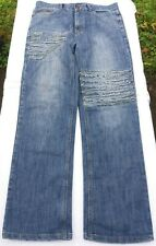 ARMANI MENS WAIST 33 LEG 32 HIGH RISE ZIP FLY DISTRESSED STRAIGHT LEG JEANS