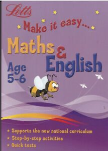 LETTS MATHS & ENGLISH AGE 5-6 ACTIVITY LEARNING BOOK - 2 BOOKS IN 1 KEY STAGE 1
