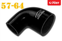 """4 Ply Silicone 90 Degree Reducer Elbow Joiner Hose 57mm-64mm 2.25""""-2.5"""" Black"""