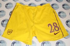 ARSENAL PLAYER ISSUE FOOTBALL SOCCER SHORTS NIKE YELLOW RED GUNNERS L