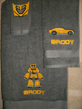 Personalized 3 Piece Bath Towel Set Transformers Bumblebee Any Color