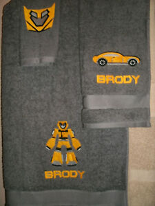 Bumblebee Personalized 3 Piece Bath Towel Set Transformers Bumblebee Any Color