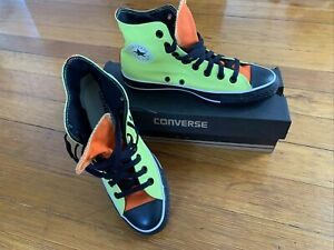 Size 6.5  Converse Chuck Taylor All Star High Custom Black Orange and Neon Green