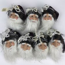 Christmas Collection Santa Claus Face Ornaments Lot of 7 Burgundy Holiday