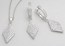 Solid Sterling Silver Circle Rhombus CZs Pendant and Dangle Earrings SET 8.64g