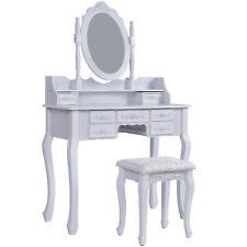 Schminktisch Frisiertisch Kosmetiktisch Frisierkommode mit Spiegel Hocker weiß