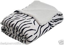 King Animal Print Zebra Sherpa Plush Blanket Fleece Warm Winter Throw Bed Cover