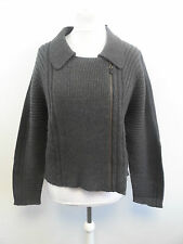 Pure Collection Ribbed Biker Jacket Charcoal Size XL Box43 02 F