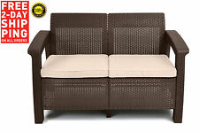 Outdoor Patio Wicker Furniture Sofa Set Piece Brown Sectional Cushions Teal NEW