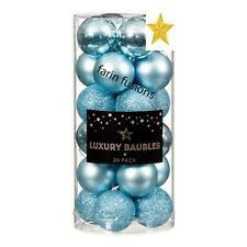 24 X 40MM ICE BLUE Deluxe Luxury Christmas Baubles - XMAS TREE DECORATION