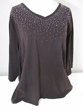 Catherines Womens sz 3X Studded Tunic Top Brown Embellished Silver Shimmery