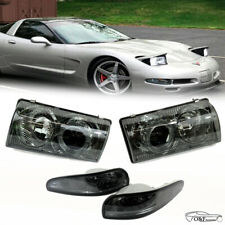 97 04 Chevy Corvette C5 Front Halo Projector Headlights With Bumper Smoke Lights