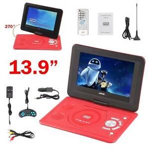 "Multi Region 13.9"" Inch Portable In Car DVD Player Rechargeable Swivel Screen"