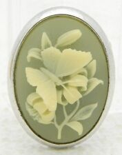 VTG TRIFARI Signed Silver Tone Green Floral Butterfly Brooch Pin
