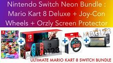 Nintendo Switch Console Neon + MARIO KART 8 + Joy-Con Wheels + Screen Protector