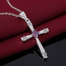 Necklace Cross Crystal Ladies 925 Sterling Silver Plated Quality Pendant Gift