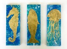 3 Poured Acrylic PAINTINGS  4 X 12 X .5 Inches With Faux Gold Leaf Ricky MARTIN