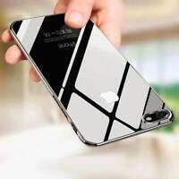 Hülle iPhone 8 PLUS iPhone Schutz Case Transparent Silikon Bumper Cover + Glas