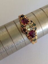 Delightful Victorian 15ct Heart Shaped Amethyst, Emerald & Chrystolite Set Ring