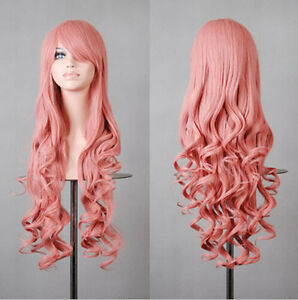 Sexy 80cm Long Curly Wigs Cosplay Costume Hair Anime Full Wavy Halloween New Wig