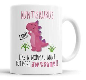 Auntisaurus Mug Auntie Dinosaur Cup for Mothers Day Funny Mug Present Birthday