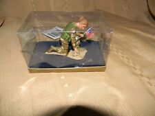 kneeling soldier woman with flag ornament new in box