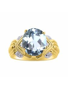 Diamond & Aquamarine Ring Set In 14K Yellow Gold - 12 X 10MM Color Stone Birthst