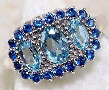 """Yo Grandma Lit'l Ring"" Real Sapphire&Aquamarine SOLID SILVER 925 victorian deco"
