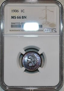 NGC MS-66 BN 1906 Indian Head Cent, Beautiful specimen, the Finest BN Known!