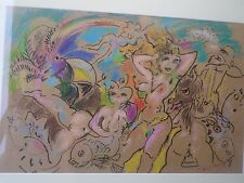 Ludwig KLIMEK 1912-1992-Pologne-pastel-baigneuses-Starlettes de Cannes-drawing