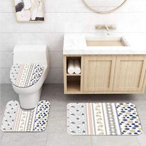 Central Asian Bohemian Pattern Toilet Cover Rug Mat Contour Rug Set 3pcs