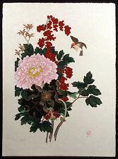 "An-Li Han ""Flower of Prosperity"" Signed Numbered Serigraph, japon paper, floral"