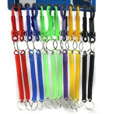 12x SPIRAL KEYRINGS Retractable Belt Clip Stretchy Coil Snap Safe Key Ring Chain