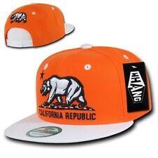 Orange & White California Republic Cali Bear Flag Flat Bill Snapback Hat Cap