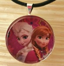 """ELSA & ANNA in Pink"" Disney's Frozen. Glass Pendant with Leather Necklace"