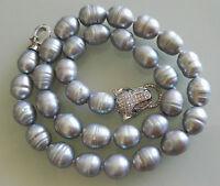 Charme kultiviert 10-11mm grau Süßwasser perle halskette+leopard kopf verschluss