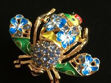 JOAN RIVERS BLUE GREEN FLOWER LADYBUG BUMBLE BEE INSECT BUG PIN BROOCH JEWELRY