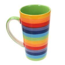 Rainbow Large Ceramic Hot Chocolate Tall Tea Coffee Mug Bright Stripey Colours