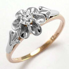 DIAMOND RUSSIAN STYLE RING 14K ROSE AND WHITE GOLD #R693